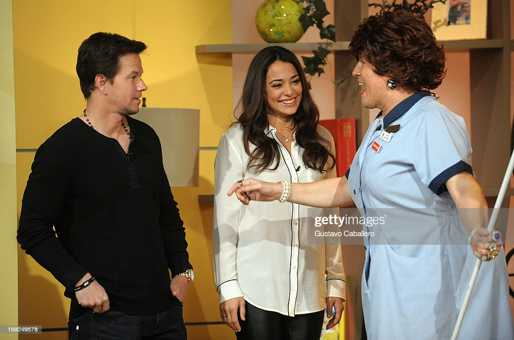 Mark Wahlberg, Natalie Martinez and Raúl González on The Set Of Despierta America to promote new film 'Broken City' at Univision Headquarters on January 10, 2013 in Miami, Florida.