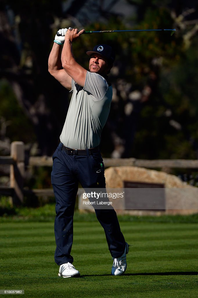Mark Wahlberg plays his tee shot on the fifth hole during round three of the AT&T Pebble Beach National Pro-Am at the Pebble Beach Golf Links on February 13, 2016 in Pebble Beach, California.