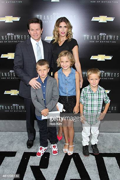 Mark Wahlberg with wife Rhea Durham and family attend 'Transformers Age Of Extinction' New York Premiere at Ziegfeld Theater on June 25 2014 in New...