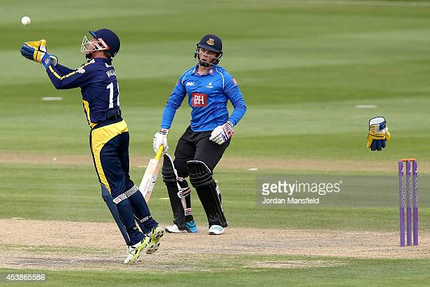 Mark Wallace of Glamorgan catches a ball to try and catch out Matt Machan of Sussex during the Royal London OneDay Cup match between Sussex Sharks...
