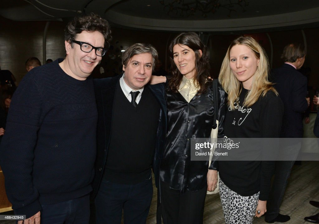 <a gi-track='captionPersonalityLinkClicked' href=/galleries/search?phrase=Mark+Wallinger&family=editorial&specificpeople=4105969 ng-click='$event.stopPropagation()'>Mark Wallinger</a>, George Condo, Bella Freud and Frances Costelloe attend a dinner at Nobu Berkeley celebrating American artist George Condo after his exhibition openings at both Simon Lee Gallery and Skarstedt on February 10, 2014 in London, United Kingdom.