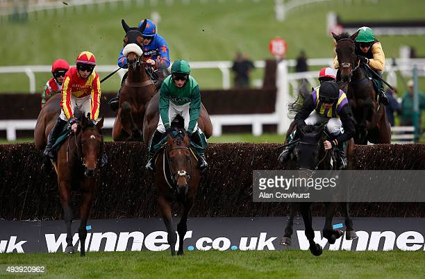 Mark Walsh riding Shantou Flyer on their way to winning The Ryman Stationary Cheltenham Business Club Novices' Steeple Chase at Cheltenham racecourse...