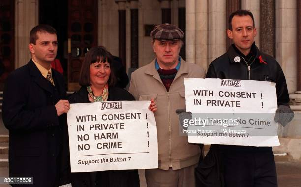 Mark Watson Sharon Cooper Terry Connell and Peter Tatchell outside the Court of Appeal to support five men appealling aginst their convictions for...