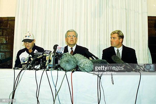 Mark Waugh Malcolm Speed CEO of the Australian Cricket Board and Shane Warne at a press conference admiting to accepting money from an Indian...
