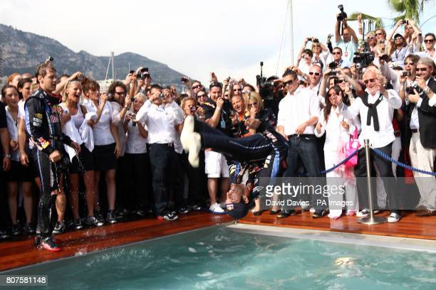 Mark Webber celebrates his victory in the pool on the Red Bull Energy Station during the Monaco Grand Prix at the Circuit de Monaco Monte Carlo