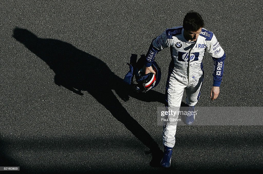 <a gi-track='captionPersonalityLinkClicked' href=/galleries/search?phrase=Mark+Webber+-+Race+Car+Driver&family=editorial&specificpeople=167271 ng-click='$event.stopPropagation()'>Mark Webber</a> of Australia and BMW Williams in the pit lane during testing at Circuito de Jerez on February 9, 2005 in Jerez, Spain.