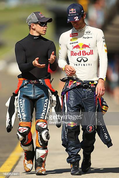 Mark Webber of Australia and Infiniti Red Bull Racing and Casey Stoner of Red Bull Pirtek Holden talk during the Top Gear Festival at Sydney...