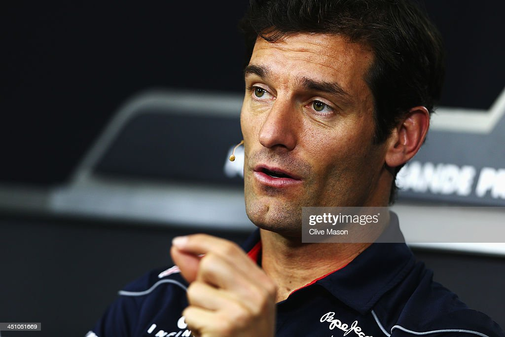 Mark Webber of Australia and Infiniti Red Bull Racing attends his final drivers press conference during previews for the Brazilian Formula One Grand Prix at Autodromo Jose Carlos Pace on November 21, 2013 in Sao Paulo, Brazil. Webber is leaving Formula One at the end of this season to join Porsche in the World Endurance Championship.