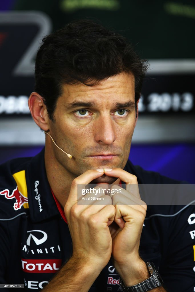 <a gi-track='captionPersonalityLinkClicked' href=/galleries/search?phrase=Mark+Webber+-+Race+Car+Driver&family=editorial&specificpeople=167271 ng-click='$event.stopPropagation()'>Mark Webber</a> of Australia and Infiniti Red Bull Racing attends his final drivers press conference during previews for the Brazilian Formula One Grand Prix at Autodromo Jose Carlos Pace on November 21, 2013 in Sao Paulo, Brazil. Webber is leaving Formula One at the end of this season to join Porsche in the World Endurance Championship.
