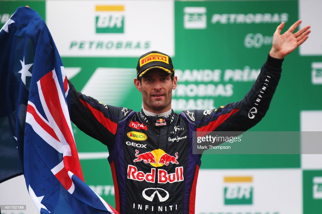 <a gi-track='captionPersonalityLinkClicked' href=/galleries/search?phrase=Mark+Webber+-+Racerf%C3%B6rare&family=editorial&specificpeople=167271 ng-click='$event.stopPropagation()'>Mark Webber</a> of Australia and Infiniti Red Bull Racing celebrates on the podium after finishing second in his final F1 race following the Brazilian Formula One Grand Prix at Autodromo Jose Carlos Pace on November 24, 2013 in Sao Paulo, Brazil.