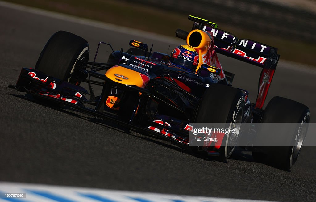 Mark Webber of Australia and Infiniti Red Bull Racing drives during Formula One winter testing at Circuito de Jerez on February 5, 2013 in Jerez de la Frontera, Spain.