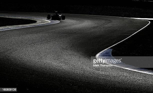 Mark Webber of Australia and Infiniti Red Bull Racing drives during Formula One winter testing at Circuito de Jerez on February 6 2013 in Jerez de la...