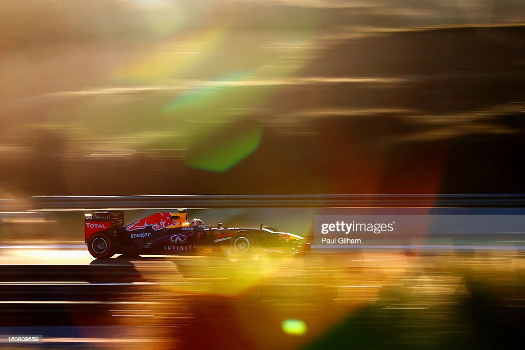 <a gi-track='captionPersonalityLinkClicked' href=/galleries/search?phrase=Mark+Webber+-+Race+Car+Driver&family=editorial&specificpeople=167271 ng-click='$event.stopPropagation()'>Mark Webber</a> of Australia and Infiniti Red Bull Racing drives during Formula One winter testing at Circuito de Jerez on February 6, 2013 in Jerez de la Frontera, Spain.