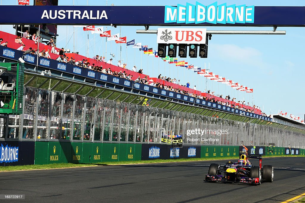 <a gi-track='captionPersonalityLinkClicked' href=/galleries/search?phrase=Mark+Webber+-+Race+Car+Driver&family=editorial&specificpeople=167271 ng-click='$event.stopPropagation()'>Mark Webber</a> of Australia and Infiniti Red Bull Racing drives during practice for the Australian Formula One Grand Prix at the Albert Park Circuit on March 15, 2013 in Melbourne, Australia.