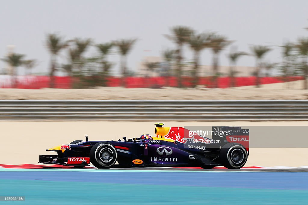 Mark Webber of Australia and Infiniti Red Bull Racing drives during the final practice session prior to qualifying for the Bahrain Formula One Grand Prix at the Bahrain International Circuit on April 20, 2013 in Sakhir, Bahrain.