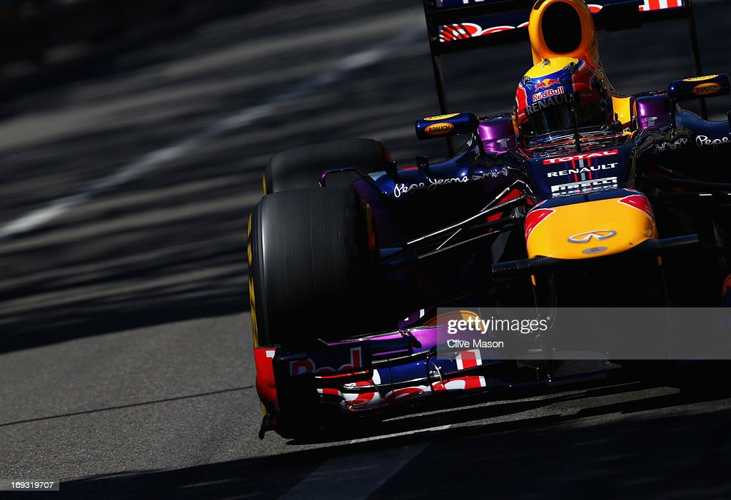 Mark Webber of Australia and Infiniti Red Bull Racing drives during previews to the Monaco Formula One Grand Prix at the Circuit de Monaco on May 22, 2013 in Monte-Carlo, Monaco.
