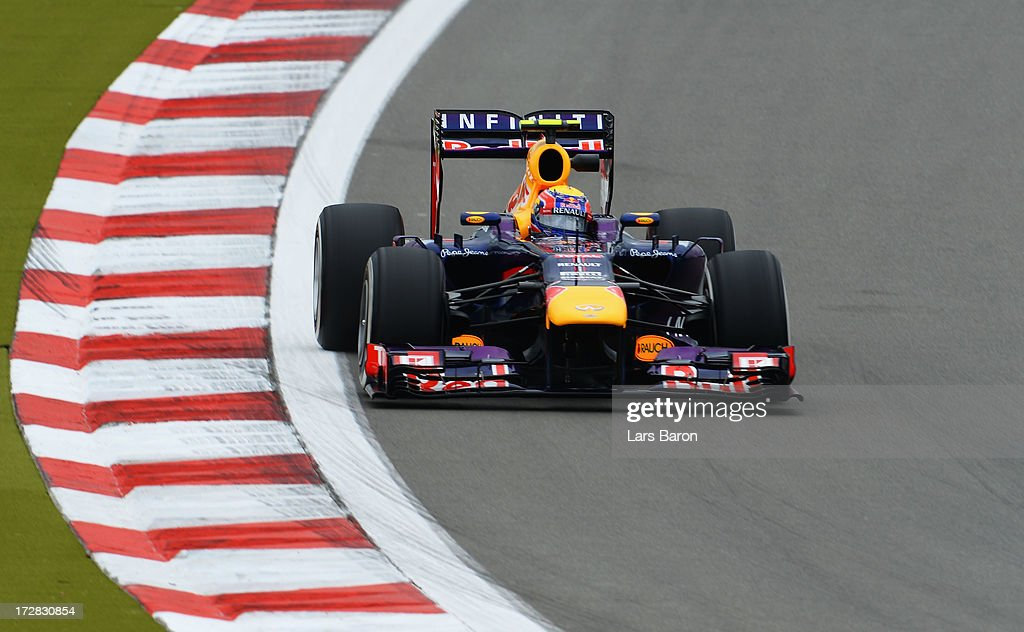 Mark Webber of Australia and Infiniti Red Bull Racing drives during practice for the German Grand Prix at the Nuerburgring on July 5, 2013 in Nuerburg, Germany.