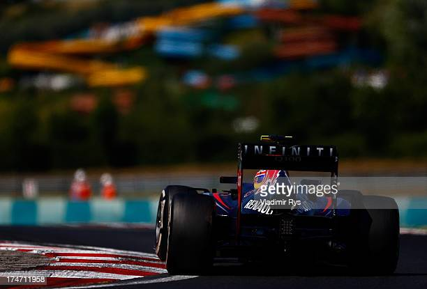 Mark Webber of Australia and Infiniti Red Bull Racing drives his RB9 during the Hungarian Formula One Grand Prix at Hungaroring on July 28 2013 in...