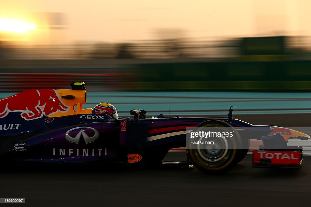 <a gi-track='captionPersonalityLinkClicked' href=/galleries/search?phrase=Mark+Webber+-+Race+Car+Driver&family=editorial&specificpeople=167271 ng-click='$event.stopPropagation()'>Mark Webber</a> of Australia and Infiniti Red Bull Racing drives on his way to finishing first during qualifying for the Abu Dhabi Formula One Grand Prix at the Yas Marina Circuit on November 2, 2013 in Abu Dhabi, United Arab Emirates.
