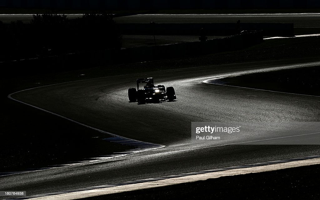 Mark Webber of Australia and Infiniti Red Bull Racing drives through the chicane during Formula One winter testing at Circuito de Jerez on February 5, 2013 in Jerez de la Frontera, Spain.
