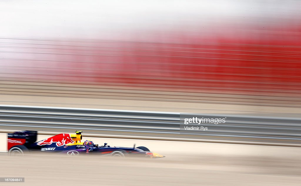 <a gi-track='captionPersonalityLinkClicked' href=/galleries/search?phrase=Mark+Webber+-+Race+Car+Driver&family=editorial&specificpeople=167271 ng-click='$event.stopPropagation()'>Mark Webber</a> of Australia and Infiniti Red Bull Racing in action during qualifying for the Bahrain Formula One Grand Prix at the Bahrain International Circuit on April 20, 2013 in Sakhir, Bahrain.