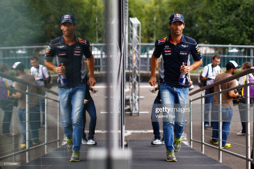 <a gi-track='captionPersonalityLinkClicked' href=/galleries/search?phrase=Mark+Webber+-+Race+Car+Driver&family=editorial&specificpeople=167271 ng-click='$event.stopPropagation()'>Mark Webber</a> of Australia and Infiniti Red Bull Racing is seen during previews to the Belgian Grand Prix at Circuit de Spa-Francorchamps on August 22, 2013 in Spa, Belgium.