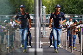 Mark Webber of Australia and Infiniti Red Bull Racing is seen during previews to the Belgian Grand Prix at Circuit de SpaFrancorchamps on August 22...