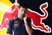 Mark Webber of Australia and Infiniti Red Bull Racing is seen in his team garage during previews for the British Formula One Grand Prix at...