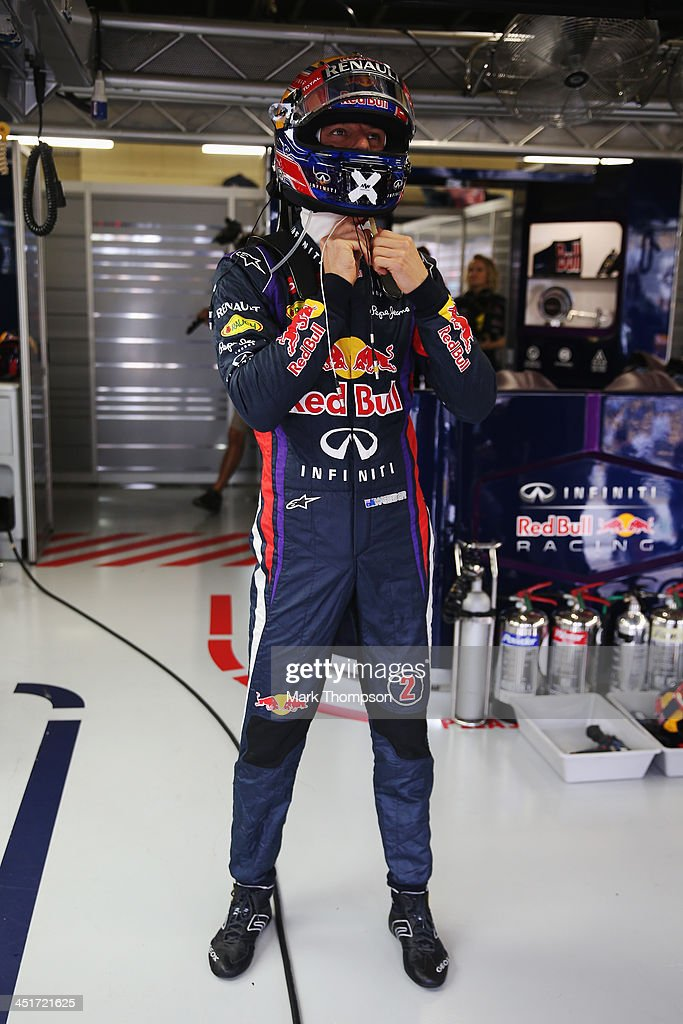 <a gi-track='captionPersonalityLinkClicked' href=/galleries/search?phrase=Mark+Webber+-+Piloto+de+automobilismo&family=editorial&specificpeople=167271 ng-click='$event.stopPropagation()'>Mark Webber</a> of Australia and Infiniti Red Bull Racing prepares to drive in his final F1 race before the Brazilian Formula One Grand Prix at Autodromo Jose Carlos Pace on November 24, 2013 in Sao Paulo, Brazil.