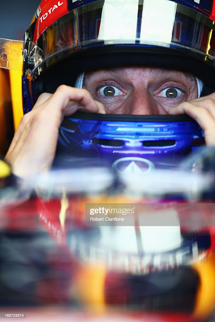 <a gi-track='captionPersonalityLinkClicked' href=/galleries/search?phrase=Mark+Webber+-+Race+Car+Driver&family=editorial&specificpeople=167271 ng-click='$event.stopPropagation()'>Mark Webber</a> of Australia and Infiniti Red Bull Racing prepares to drive during practice for the Australian Formula One Grand Prix at the Albert Park Circuit on March 15, 2013 in Melbourne, Australia.