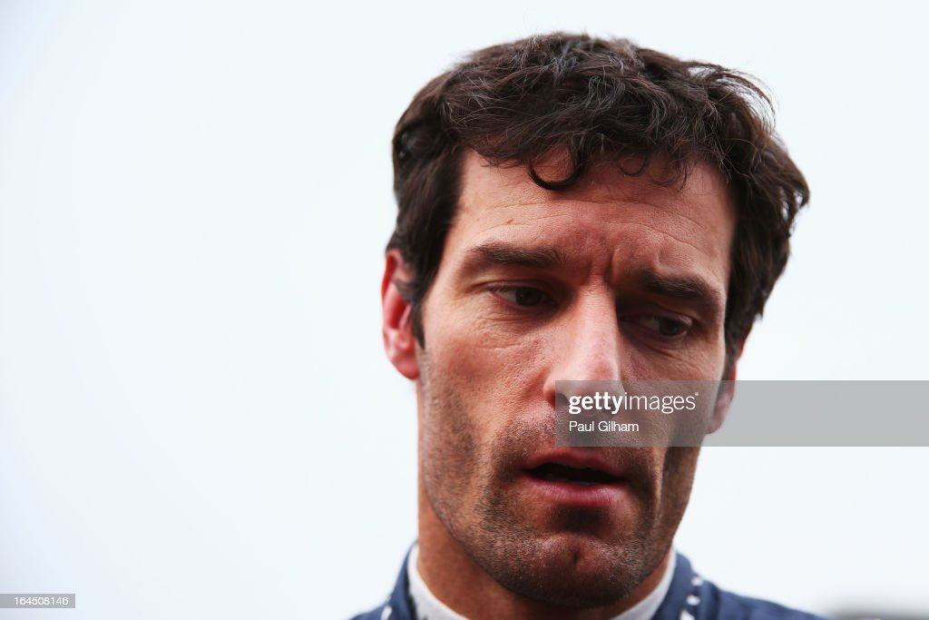 <a gi-track='captionPersonalityLinkClicked' href=/galleries/search?phrase=Mark+Webber+-+Race+Car+Driver&family=editorial&specificpeople=167271 ng-click='$event.stopPropagation()'>Mark Webber</a> of Australia and Infiniti Red Bull Racing prepares to drive during the Malaysian Formula One Grand Prix at the Sepang Circuit on March 24, 2013 in Kuala Lumpur, Malaysia.