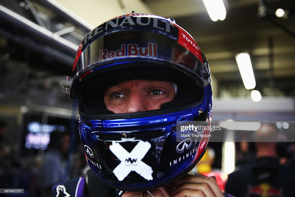<a gi-track='captionPersonalityLinkClicked' href=/galleries/search?phrase=Mark+Webber+-+Piloto+de+automobilismo&family=editorial&specificpeople=167271 ng-click='$event.stopPropagation()'>Mark Webber</a> of Australia and Infiniti Red Bull Racing prepares to drive during practice for the Brazilian Formula One Grand Prix at Autodromo Jose Carlos Pace on November 22, 2013 in Sao Paulo, Brazil. Sunday will see Webber drive in his 215th and final F1 race.