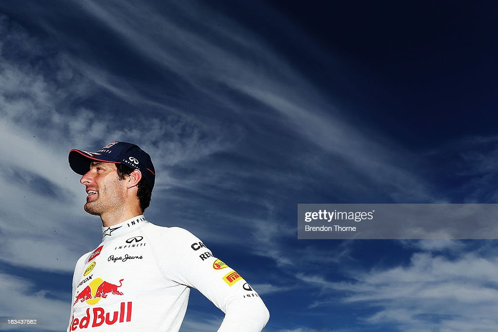 <a gi-track='captionPersonalityLinkClicked' href=/galleries/search?phrase=Mark+Webber+-+Race+Car+Driver&family=editorial&specificpeople=167271 ng-click='$event.stopPropagation()'>Mark Webber</a> of Australia and Infiniti Red Bull Racing speaks with the media during the Top Gear Festival at Sydney Motorsport Park on March 10, 2013 in Sydney, Australia.