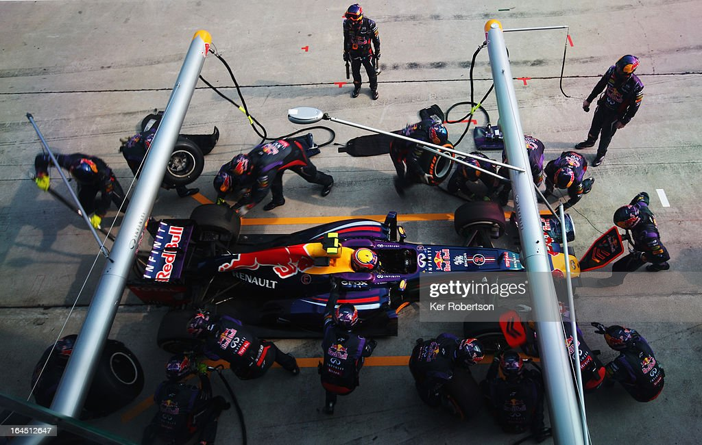 Mark Webber of Australia and Infiniti Red Bull Racing stops for a pitstop during the Malaysian Formula One Grand Prix at the Sepang Circuit on March 24, 2013 in Kuala Lumpur, Malaysia.