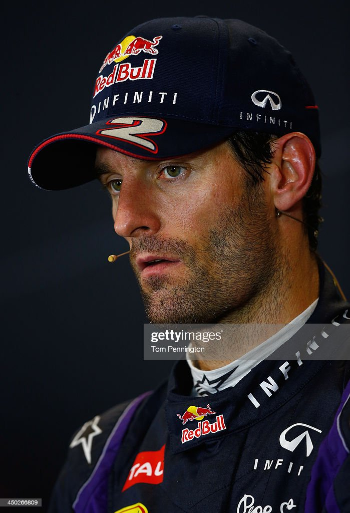 Mark Webber of Australia and Infiniti Red Bull Racing talks with the media after finishing third place in the United States Formula One Grand Prix at Circuit of The Americas on November 17, 2013 in Austin, United States.