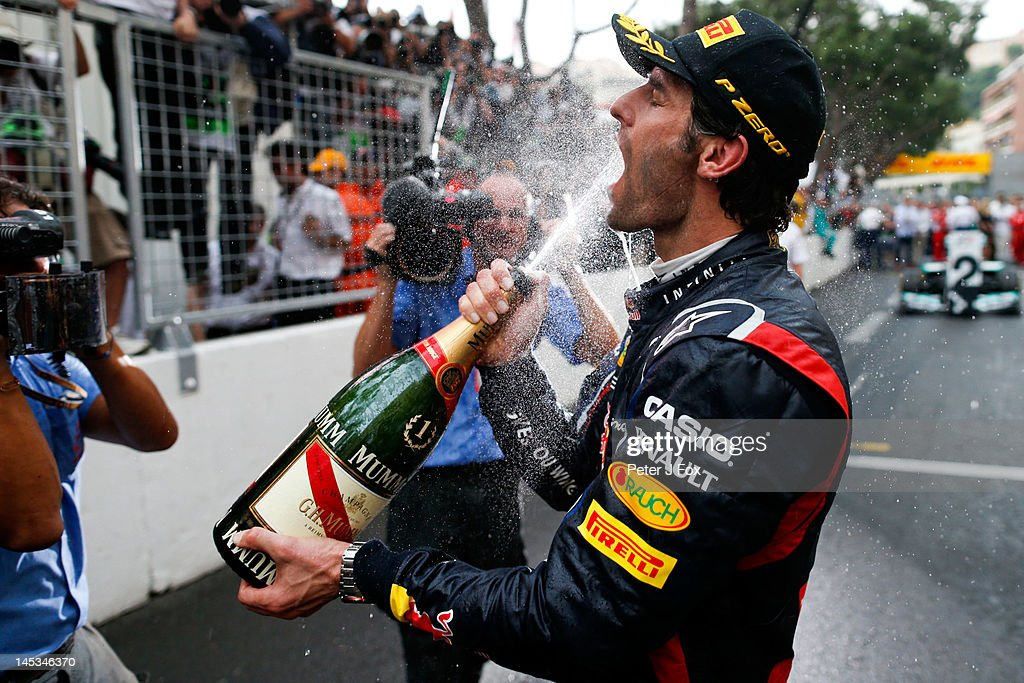 <a gi-track='captionPersonalityLinkClicked' href=/galleries/search?phrase=Mark+Webber+-+Race+Car+Driver&family=editorial&specificpeople=167271 ng-click='$event.stopPropagation()'>Mark Webber</a> of Australia and Red Bull celebrates winning the Monaco Formula One Grand Prix at the Circuit de Monaco on May 27, 2012 in Monte Carlo, Monaco.