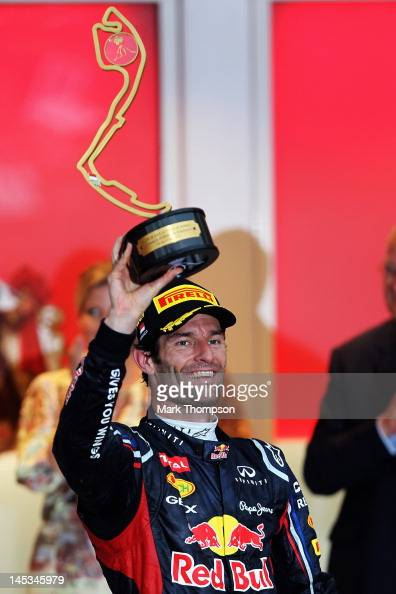 Mark Webber of Australia and Red Bull Racing celebrates winning the Monaco Formula One Grand Prix at the Circuit de Monaco on May 27 2012 in Monte...