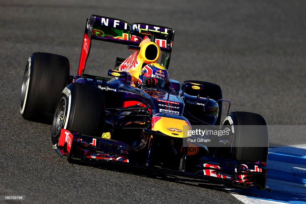 <a gi-track='captionPersonalityLinkClicked' href=/galleries/search?phrase=Mark+Webber+-+Race+Car+Driver&family=editorial&specificpeople=167271 ng-click='$event.stopPropagation()'>Mark Webber</a> of Australia and Red Bull Racing drives during Formula One winter testing at Circuito de Jerez on February 5, 2013 in Jerez de la Frontera, Spain.