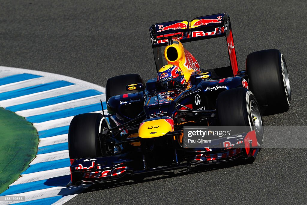 <a gi-track='captionPersonalityLinkClicked' href=/galleries/search?phrase=Mark+Webber+-+Race+Car+Driver&family=editorial&specificpeople=167271 ng-click='$event.stopPropagation()'>Mark Webber</a> of Australia and Red Bull Racing drives the new Red Bull Racing RB8 during Formula One winter testing at the Circuito de Jerez on February 7, 2012 in Jerez de la Frontera, Spain.