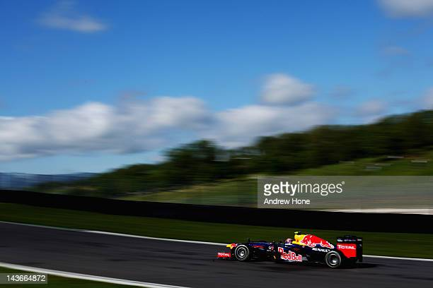Mark Webber of Australia and Red Bull Racing in action during Formula One Testing at the Mugello Circuit on May 2 2012 in Mugello Italy