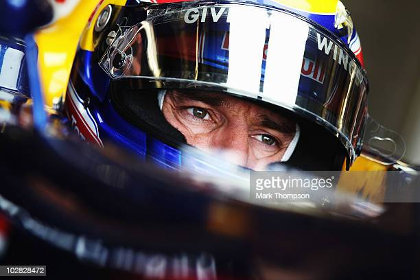 Mark Webber of Australia and Red Bull Racing prepares to drive during the British Formula One Grand Prix at Silverstone on June 11 in Northampton...