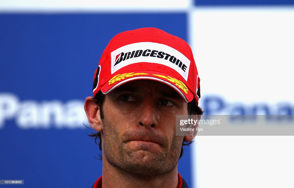 <a gi-track='captionPersonalityLinkClicked' href=/galleries/search?phrase=Mark+Webber+-+Racerf%C3%B6rare&family=editorial&specificpeople=167271 ng-click='$event.stopPropagation()'>Mark Webber</a> of Australia and Red Bull Racing reacts on the podium after finishing third during the Turkish Formula One Grand Prix at Istanbul Park on May 30, 2010, in Istanbul, Turkey.