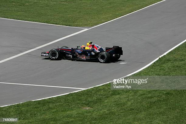 Mark Webber of Australia and Red Bull Racing spins during the Canadian Formula One Grand Prix at the Circuit Gilles Villeneuve on June 10 in Montreal...