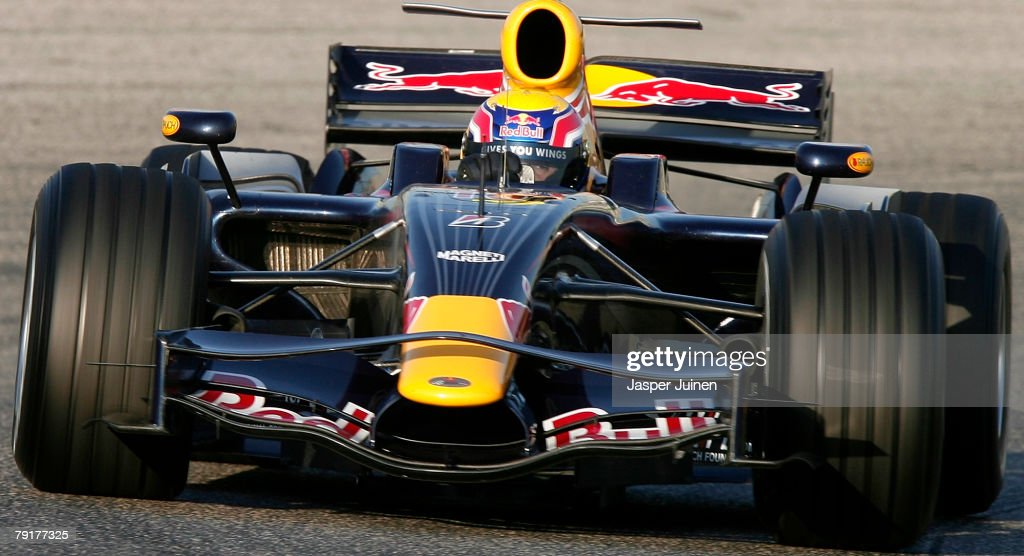 Mark Webber of Australia and Red Bull Racing steers his car during Formula one testing at the Ricardo Tormo racetrack on January 23, 2008, in Cheste near Valencia, Spain.
