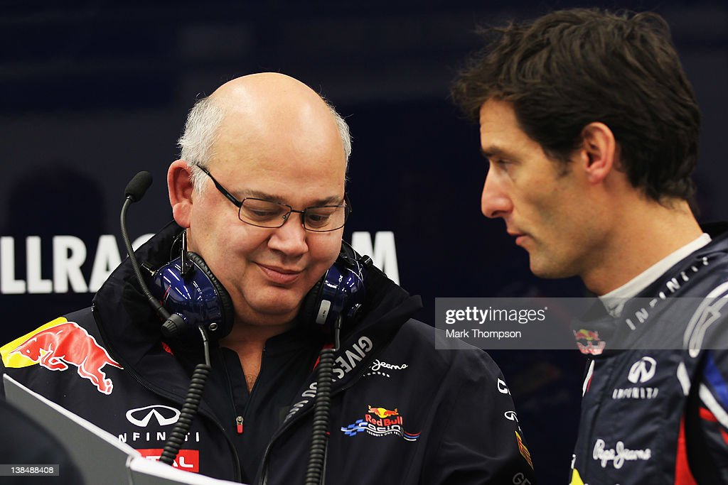 Mark Webber of Australia and Red Bull Racing talks with Red Bull Racing Chief Designer Rob Marshall during Formula One winter testing at the Circuito de Jerez on February 7, 2012 in Jerez de la Frontera, Spain.