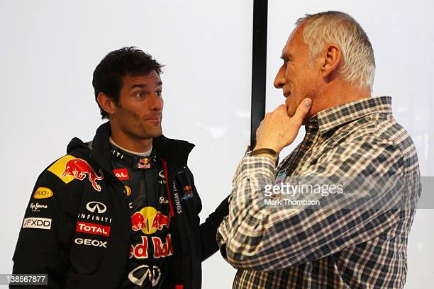Mark Webber of Australia and Red Bull Racing talks with Red Bull Racing team owner Dietrich Mateschitz during day three of Formula One winter testing...