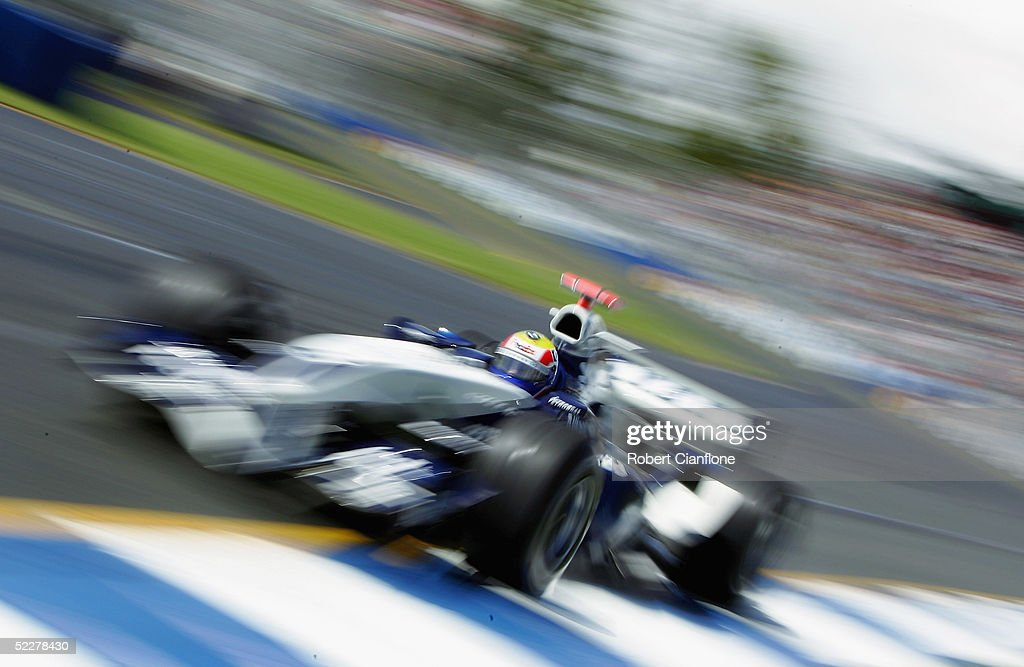 <a gi-track='captionPersonalityLinkClicked' href=/galleries/search?phrase=Mark+Webber+-+Race+Car+Driver&family=editorial&specificpeople=167271 ng-click='$event.stopPropagation()'>Mark Webber</a> of Australia and the BMW WilliamsTeam in action during qualifying for the Australian Formula One Grand Prix at Albert Park on March 5, 2005 in Melbourne, Australia.
