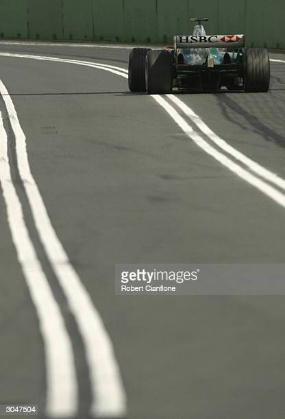 Mark Webber of Australia and the Jaguar Formula One Team in action during qualifying for the 2004 Australian Grand Prix which is round one of the FIA...