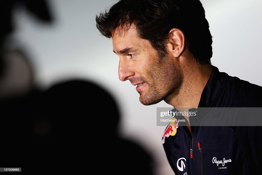 <a gi-track='captionPersonalityLinkClicked' href=/galleries/search?phrase=Mark+Webber+-+Race+Car+Driver&family=editorial&specificpeople=167271 ng-click='$event.stopPropagation()'>Mark Webber</a> speaks to the media at the Red Bull Racing Press Conference at the Red Bull Racing Factory on November 27, 2012 in Milton Keynes, England.