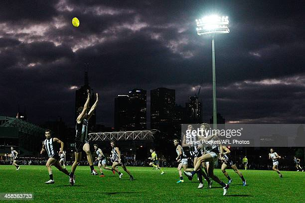 Mark Whiley of the Blues kicks the ball during the round 13 VFL match between the Collingwood Magpies and Northern Blues at the Holden Centre on July...